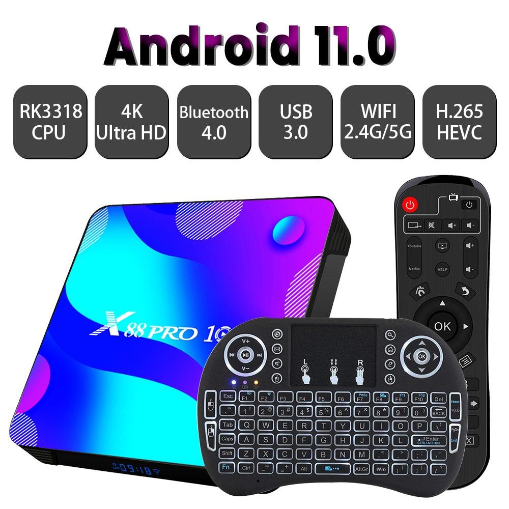 Transpeed-TV BOX X88 con Android 11,0, receptor de televisión con Bluetooth, 32 GB, 64 GB, 128 GB, 2,4 GB y 5 GB, RK3318, 4K, 3D, H.265, descodificador rápido
