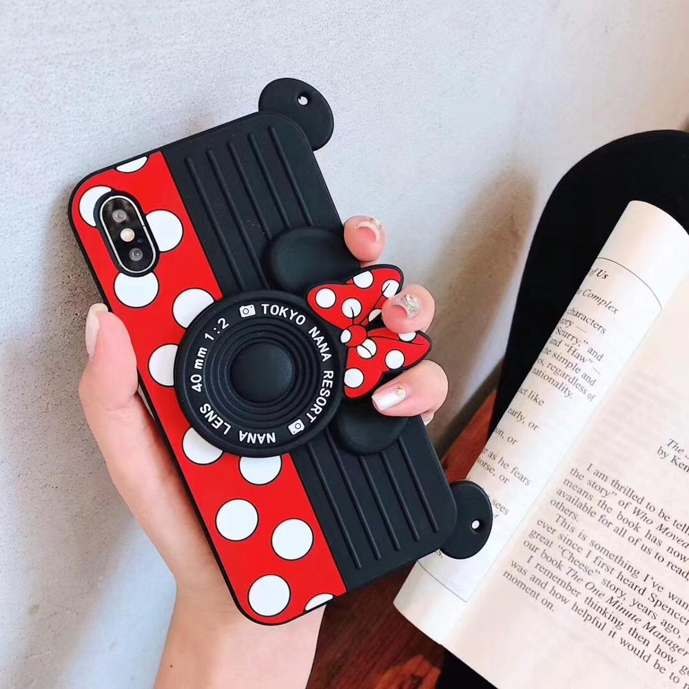 Cute 3D Cartoon Camera Bow Silicone Case For Iphone 11 12 Pro 6S 6 7 8 Plus SE2020 X Xr Xs Max Cover Lanyards Hand Strap