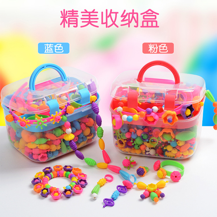Arts and Crafts for Kids Beads Pop Beads DIY Handmade Beaded Set Creative Loom Bands Jewelry Making Toys for Children Girls Gift