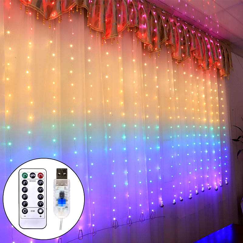 3m LED Garland Curtain String Lights Remote Control USB Fairy Light Home Decoration On The Window Wedding Party Holiday Lighting