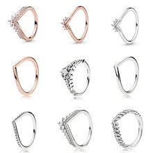 Silver Color Ring Charms s Diy Rose Gold Color Princess Crown Wheat Ear Women Crystal Finger Ring For Women Party Jewelry(China)