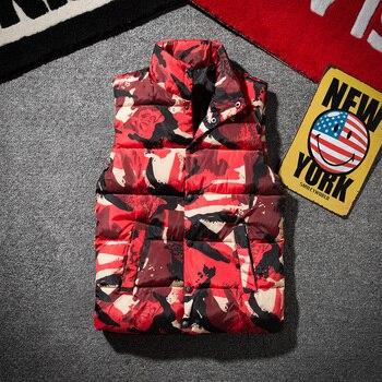 Spring Autumn Men women Camouflage Vest Super Warm Winter Jackets Vest Slim Down cotton Waistcoat Couple vest plus size XS -3XL camouflage zip up furry hood down waistcoat