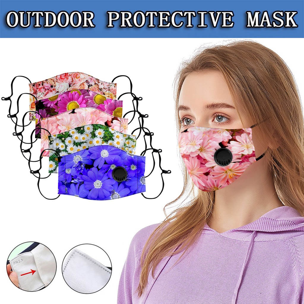 In Stock Adult Floral Print Adjustable Safety Filter Breather FaceCover Dustproof Mascarillas Mascara Mondkapje Camping Maska