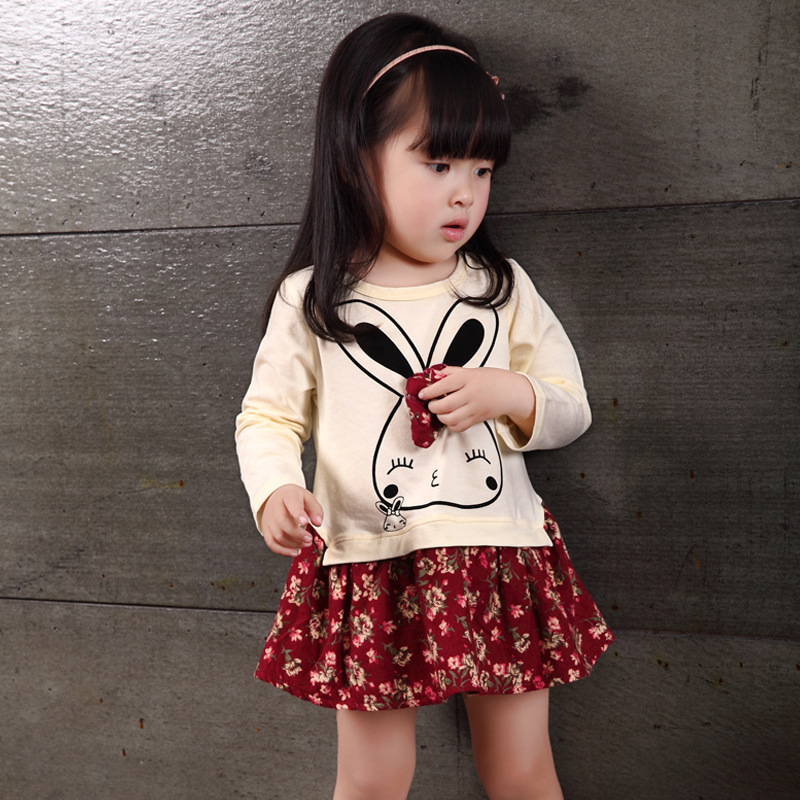 2021 Spring Autumn New Long Sleeve Kids Clothing Fashion Dress Girls Stitching Princess Dress Baby Casual Clothes