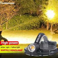 8000LM Gelb Licht Weißes Licht Scheinwerfer XHP70.2 Mächtigsten Kopf-montiert Led Scheinwerfer Zoomable XHP70 Angeln Camping