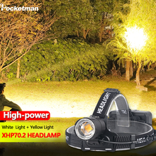 8000LM الضوء الأصفر الأبيض مصابيح إنارة رأسية XHP70.2 أقوى رئيس شنت Led المصباح زوومابلي XHP70 الصيد التخييم