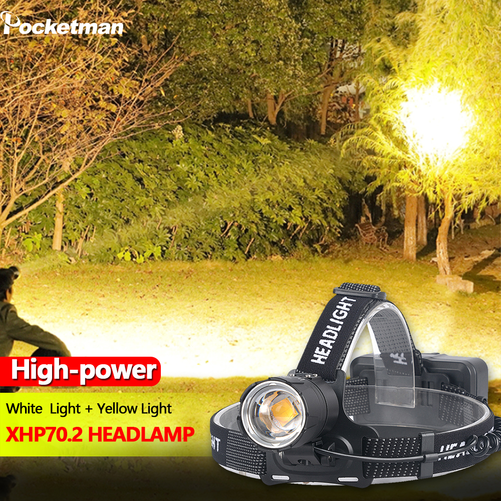8000LM Yellow Light White Light Headlamp XHP70.2 Most Powerful Head-mounted Led Headlight Zoomable XHP70 Fishing Camping
