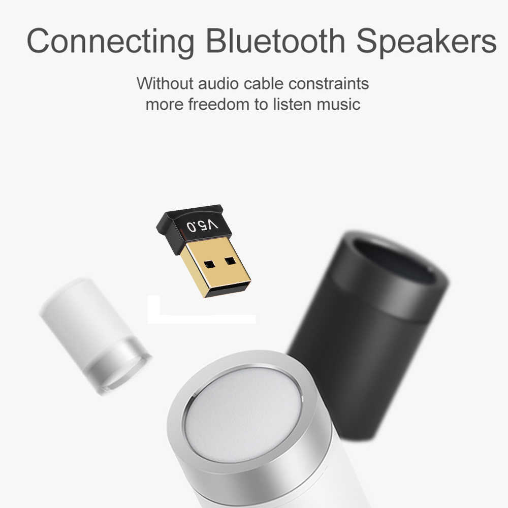Kebidumei adaptador inalámbrico 5,0 Bluetooth Dongle receptor de sonido de música adaptador Bluetooth USB Dongle transmisor para ordenador PC