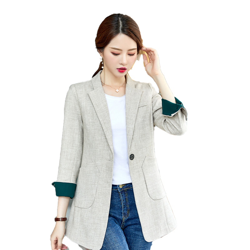 Fashion Women Tailored Coat & Jackets Beige Long Blazers Ladies Outerwear Clothes Female Elegant Formal Office Work Wear Styles