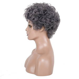 Image 4 - 白髪かつらブラック女性ショートカーリーかつら高齢者のための女性の高温ファイバー人工毛 6 インチ