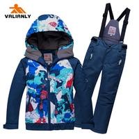 2019 Kids Boys Girls Ski Suit Winter Snowsuit Outdoor Snow Sets Hooded Ski Jacket Pants Snowboard Sets Children Clothing 25C