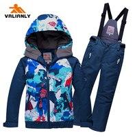 2020 Kids Boys Girls Ski Suit Winter Snowsuit Outdoor Snow Sets Hooded Ski Jacket Pants Snowboard Sets Children Clothing  25C