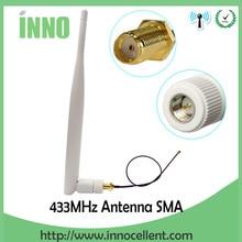 5Pcs 433 Mhzเสาอากาศ 5dBi SMAตัวเชื่อมต่อชายAntenne 433 MhzสีขาวAntena 433 M + 21 ซม.RP SMA SMA Ufl/IPX ExtensionสายPigtail