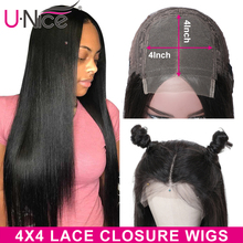 Hair-4x4closurewig Baby-Hair Unice Straight 100%Human-Hair Pre-Plucked with Premium