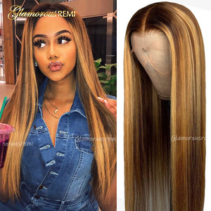 13*4 Straight Lace Front Human Hair Wigs Pre Plucked With Baby Hair Ombre Honey Blond Highlights Brazilian Remy Lace Front Wigs(China)
