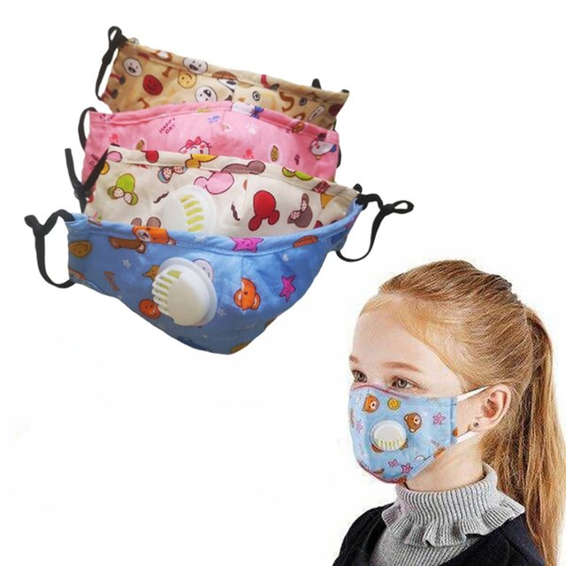 Children Cotton Anti Dust Mouth Mask Activated Carbon Filter Windproof With Breathing Valve Face Masks