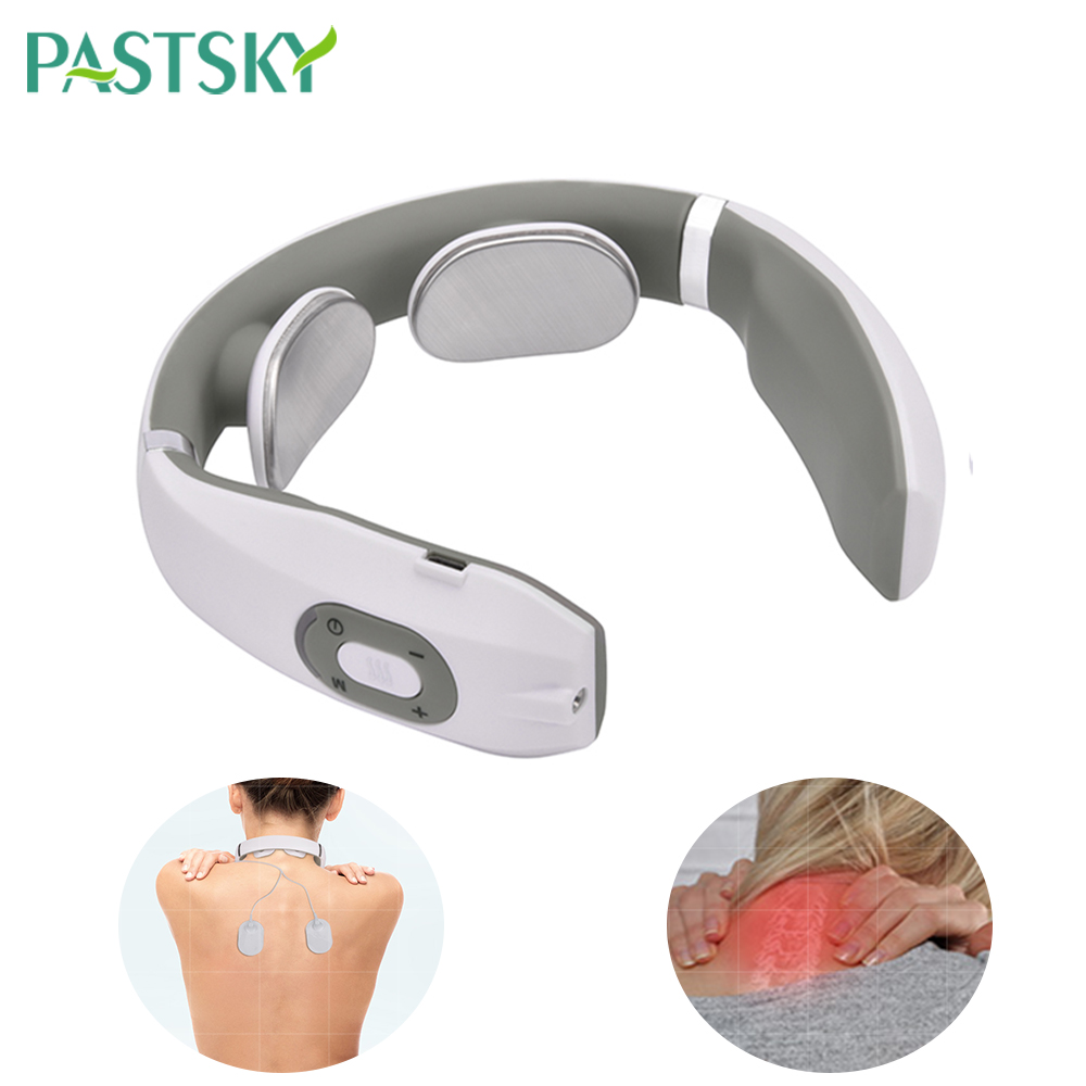 2 In 1 Smart Heating Neck Massager Electric Pulse Electrode Pad Cervical Therapy Collar Pain Relief TENS Muscle Stimulator
