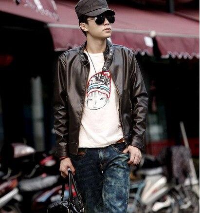 2019 New Style Fashion Man No Ironing Locomotive Leather Coat MEN'S Coat Thin Casual Short Stand Collar Leather Jacket