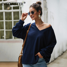 EVERAFTER Sexy V neck autumn solid women knitted pullover sweater loose jumpers knitwear Winter casual female outwear tops 2019