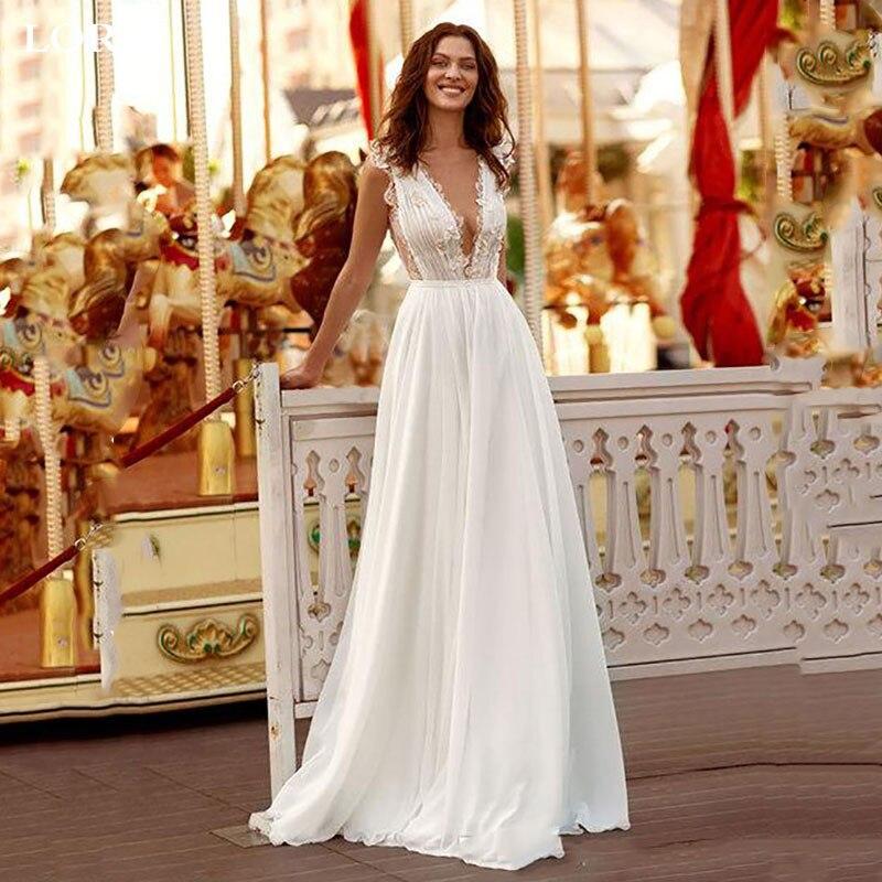 LORIE Princess Wedding Dress V Neck Lace Bride Dress Chiffon A-Line Backless Boho Girl Dress Vestidos De Novia
