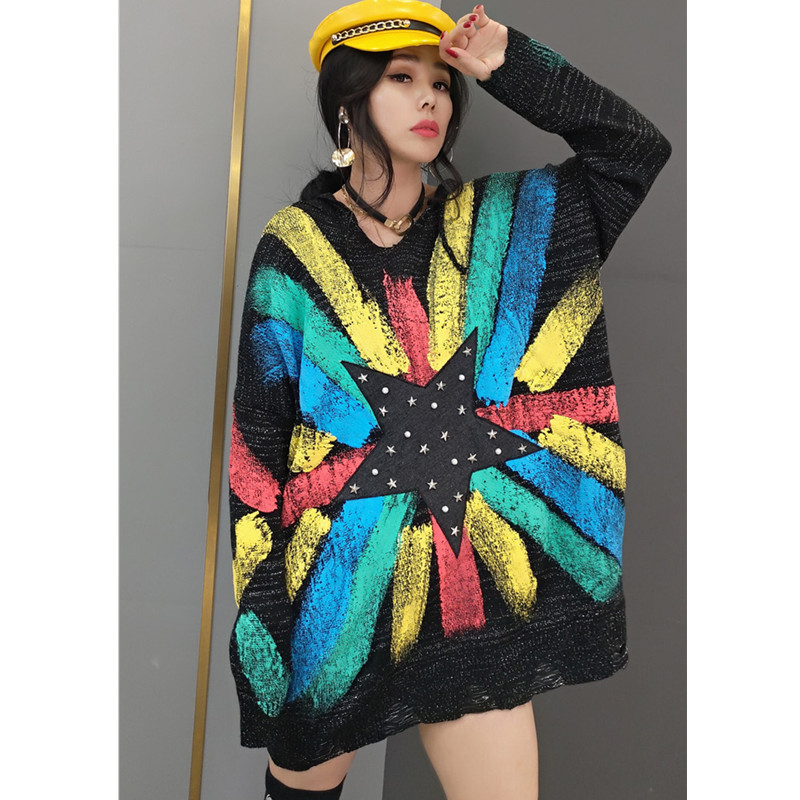 Tide brand women 2021 spring new fashion sweater women's Korean style hooded sweater star sweater mid-length fashion streetwear 7
