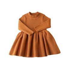 HoneyCherry – Robe en maille pour bébé, vêtement pour fille, en tricot, col rond, pour mariage, tendance automne hiver 2020
