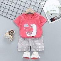 Baby boy clothing set Summer 2pcs kids clothes sets t shirt+pants suit Striped Printed Clothes newborn sport suits 2020