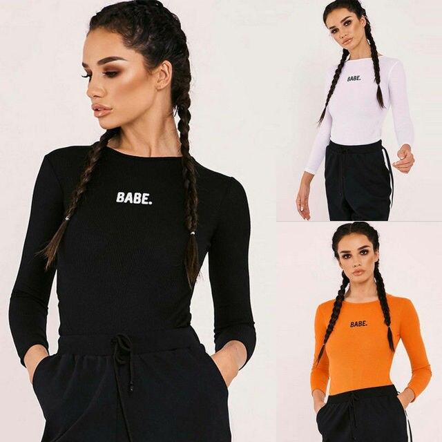 2019 New Autumn Soft Clothes Women Bodycon Bodysuit Long Sleeve Bandage Jumpsuit Romper Leotard Top Shirt Babe Letter Bodysuit 4