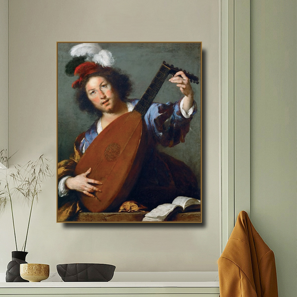 A Lute-player By Bernardo Canvas Painting Calligraphy Canvas Poster Print Decor Picture For Living Room Bedroom Home Decor