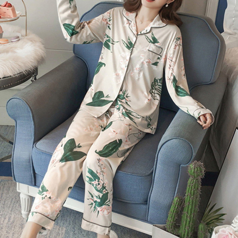 Women Clothes For Autumn Winter Pajamas Sets V-Neck Sleepwear Lovely Rabbit Pijamas Mujer Long Sleeve Cotton Sexy Pyjamas Female