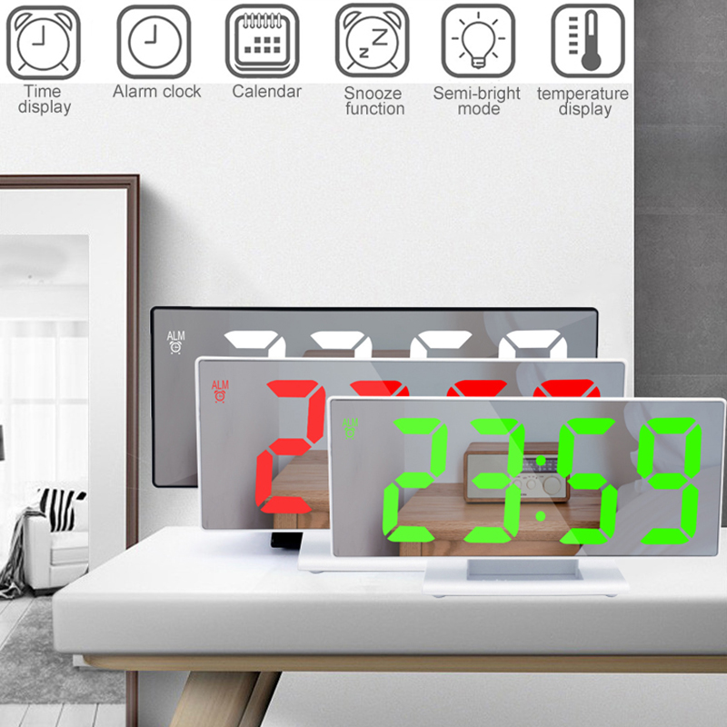 New Bedside Mirror Alarm Clock LED Digital Time Display Snooze Temperature Adjustment Light Battery Operated Makeup Mirror Clock