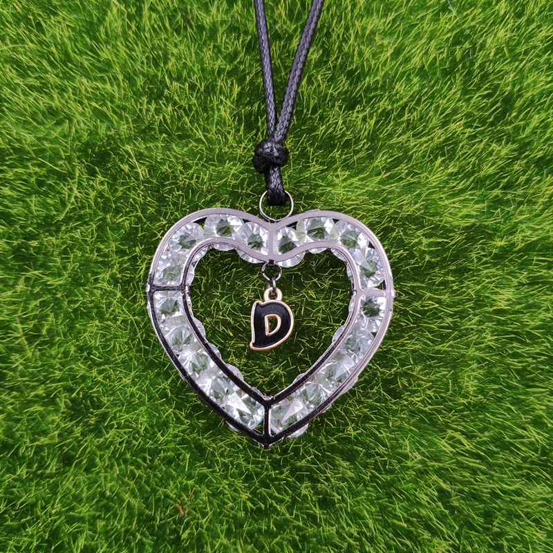 26 Letters Heart Love A-Z Design Gun Black Necklace Pendant Enamel Adjustable Rope Men Valentine's Day Lover Gift AG027-052