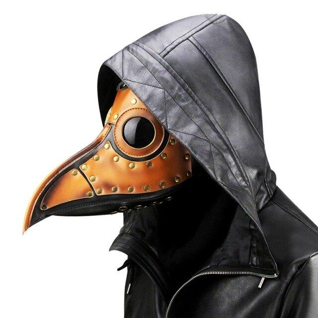 Halloween Steampunk Plague Doctor Mask White/Black Latex Cosplay Bird Beak Masks Long Nose Party Event Ball Costume Props 4