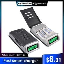 Pantalla LCD con 4 ranuras, cargador de batería de domótica para baterías recargables AA / AAA NiCd NiMh
