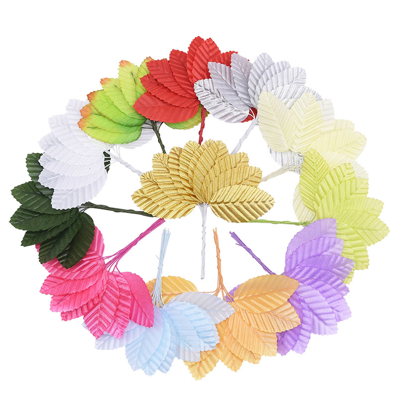 100/200pcs 3x5cm Fake Silk Leaf Green Leaves with Wire Stem Artificial Flower DIY Scrapbooking Craft for Wedding Home Decoration
