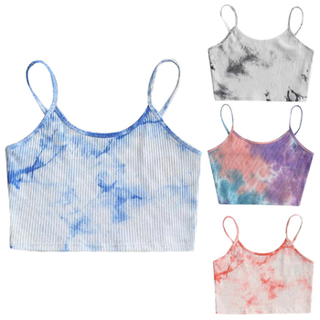 Tie-dye Fashion Crop Tops Women 2020 Backless Sleeveless Spaghetti Strap Tank Top Vest Summer Streetwear Cropped Feminino New brief embroidered spaghetti strap tank top for women