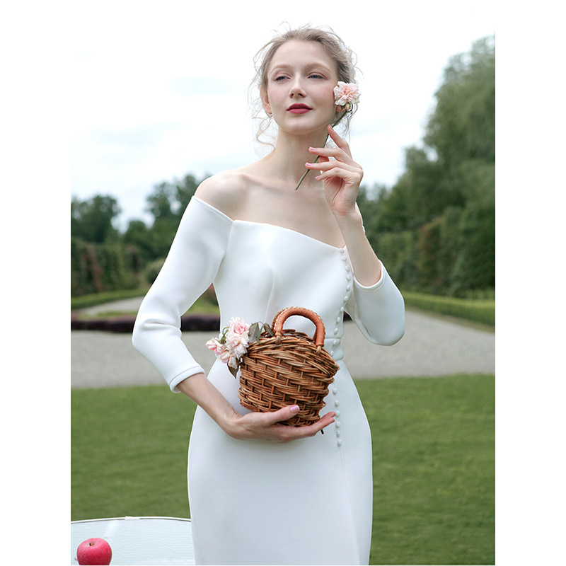 Image 5 - tailor shop custom made light wedding dress pure silk wool fabric off shoulder simple silk wedding dress white silk wedding gownWedding Dresses   -
