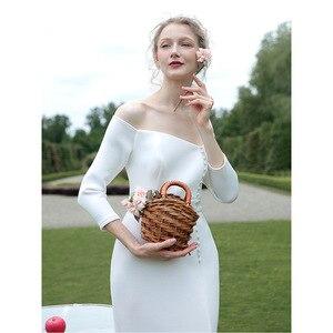 Image 5 - tailor shop custom made light wedding dress pure silk wool fabric off shoulder simple silk wedding dress white silk wedding gown