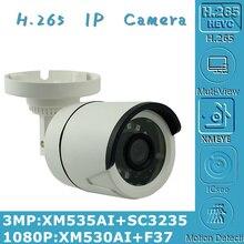 3MP 2MP H.265 IP Bullet kamera XM535AI + SC3235 2304*1296 XM530 + F37 1080P Onvif CMS XMEYE IRC 24 LEDs gece görüş P2P radyatör