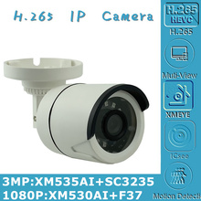 3MP 2MP H.265 IP 총알 카메라 XM535AI + SC3235 2304*1296 xw530 + F37 1080P Onvif CMS XMEYE IRC 24 led NightVision P2P 라디에이터
