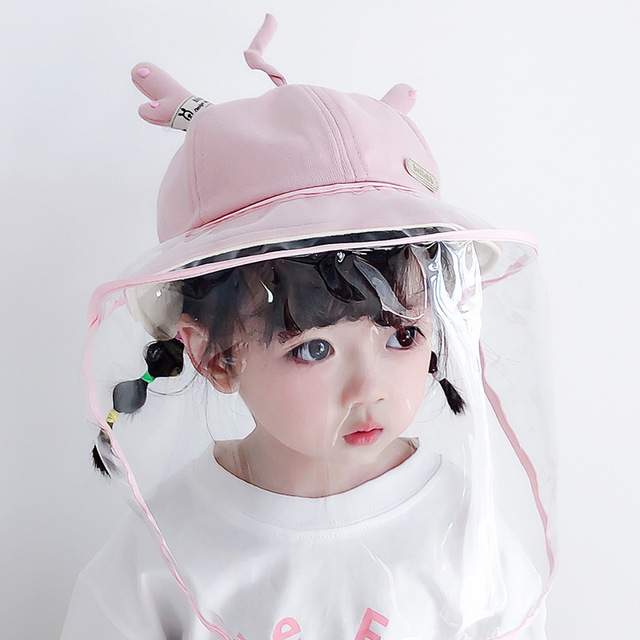 Summer Kids Bucket Hat Baby Protective Face Shield Cover Mask Hat Anti Saliva Dustproof Dual-use Mesh Breathable Sun Hat Cap 1