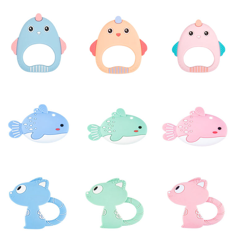 BPA Free Silicone Teethers Food Grade Tiny Rod Teething Necklace Baby Shower Gifts Cartoon Animals Teether