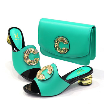 2020 New blue Matching Shoes and Bag Set In Heels African Shoes and Matching Bags Italian Pumps Matching Shoe and Bag Set 15