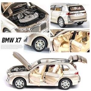 Image 5 - 1:24 nowy BWM X7 aluminiowy Model samochodu Diecasts pojazdy zabawkowe symulacja światła dźwięk wycofać zabawki dla dzieci kolekcje darmowa wysyłka