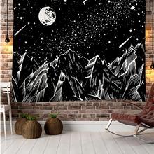 Гобелен Line mountain moon star с индийской мандалой, настенный подвесной гобелен в богемном стиле, психоделический гобелен