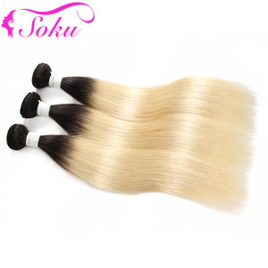 Image 5 - 613 Blonde Brazilian Straight Human Hair Bundles 3/4PCS  Honey Blonde Human Hair Weave Bundles SOKU 100% Remy Ombre Hair Bundles