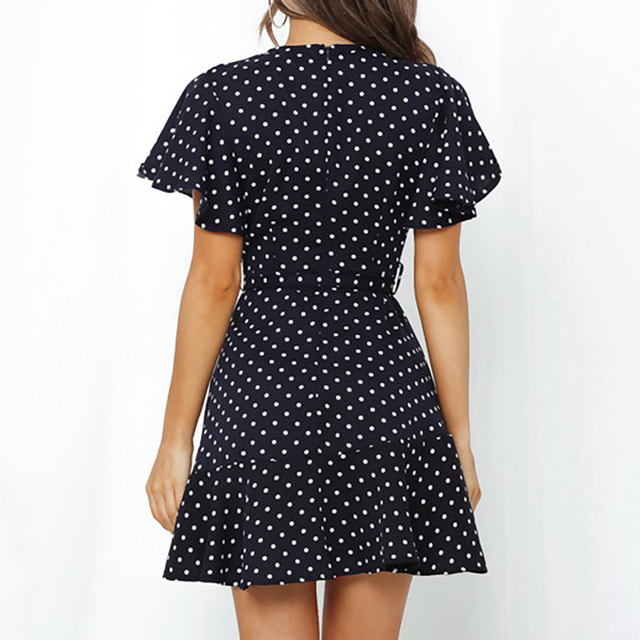 2021 Summer Boho Printed Mini Dress Women V Neck Holiday Beach Dresses A Line Short Sleeve Ruffle Wrap Dress Vestidos 6