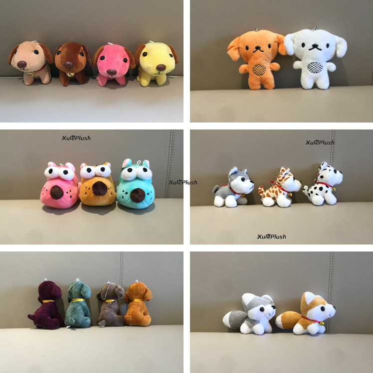Kawaiii 9Designs Plush Dogs Toys - 7-11CM dogs stuffed Plush Toys , key chain cute gift stuffed animal plush toys