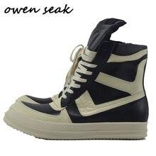 Owen Seak Männer Schuhe Hohe Ankle Luxus Trainer Echtem Leder Winter Stiefel Lace Up Casual Sneaker Zip Wohnungen Schwarz Weiß schuhe