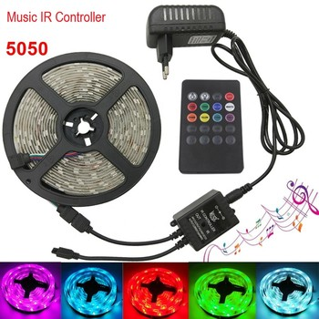 colornie wifi led controller music rgb led strip controller digital 2048 pixel spi led screen controller RGB 5050 Led Strip Music Control Set 30Leds Strip Light Tape Waterproof RGB diode LED Ribbon Music IR Controller + Power Supply